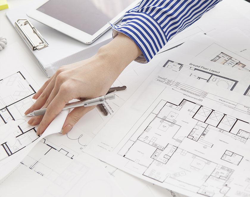 ゾーニング計画、動線計画、デスク配置計画などを施主側と一緒に検討しご提案します。